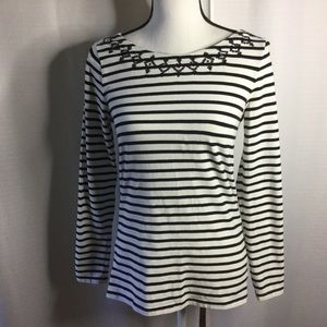 VINEYARD VINES Black/White Striped LS Top sequins